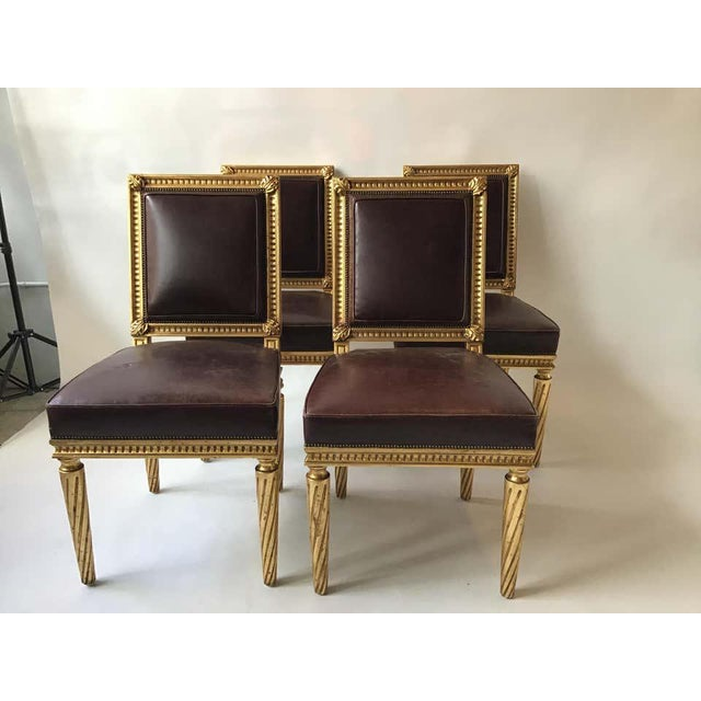 1990s French Style Louis XVI Giltwood/ Leather Dining Chairs- Set of 4 For Sale - Image 5 of 13