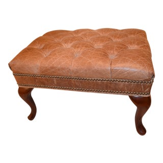 Traditional Leather & Wood Ottoman