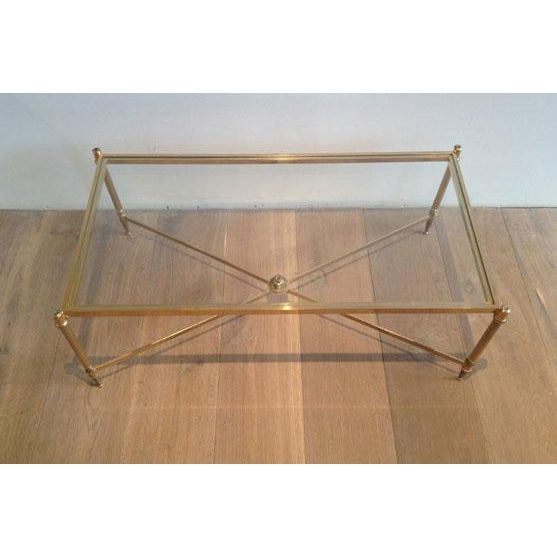 Mid-Century Modern Rectangular Mid Century Brass Coffee Table With Clear Glass Top & Cross Stretcher For Sale - Image 3 of 3