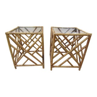 Bamboo Chippendale Side Tables - a Pair