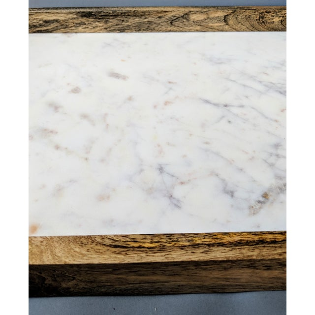 Handcrafted Wood & Marble Bar Tray For Sale - Image 9 of 12