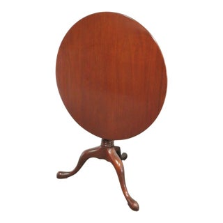 Queen Anne Norris Solid Mahogany Tilt Top Table For Sale
