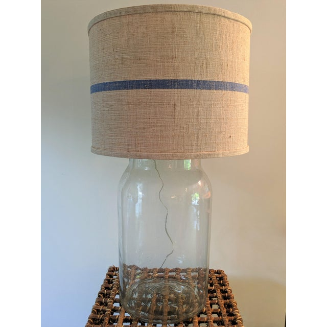 Blown Glass Seeded Blown Glass Lamp With Blue Striped Linen Shade For Sale - Image 7 of 7