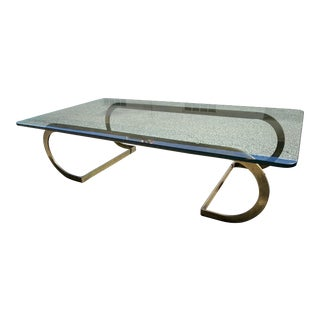 Solid Brass and Glass Table Coffee Table For Sale