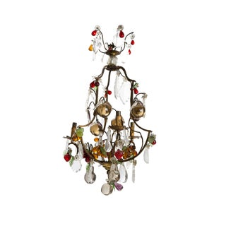1920s Small Vintage 3-Light Crystal Chandelier For Sale