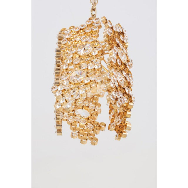 One of Three Palwa Gilded Brass and Crystal Glass Encrusted Pendant Lamps For Sale - Image 9 of 11