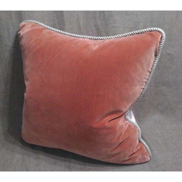 1990s Vintage Silk Floral Damask Fragment Throw Pillow For Sale - Image 5 of 6