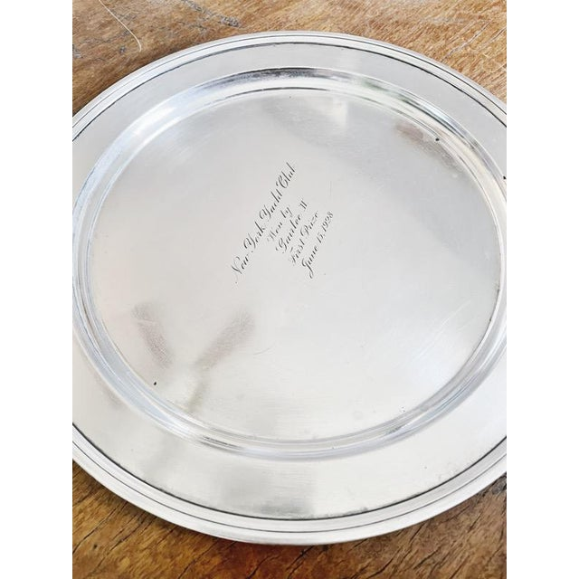1928 Tiffany & Co Sterling Silver Ny Yacht Club Trophy Tray For Sale In New York - Image 6 of 9