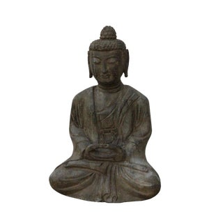 Chinese Gray Stone Carved Small Sitting Buddha Statue For Sale