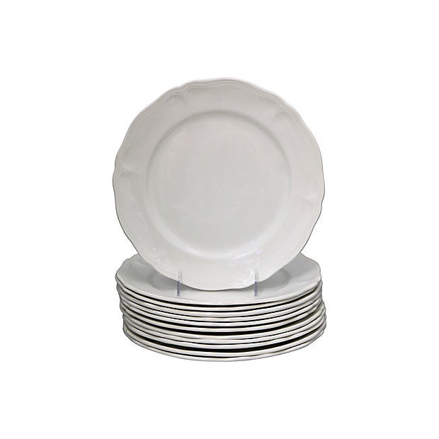 Cabin French White Porcelain Dinner & Salad Plates - 12 Pieces For Sale - Image 3 of 5