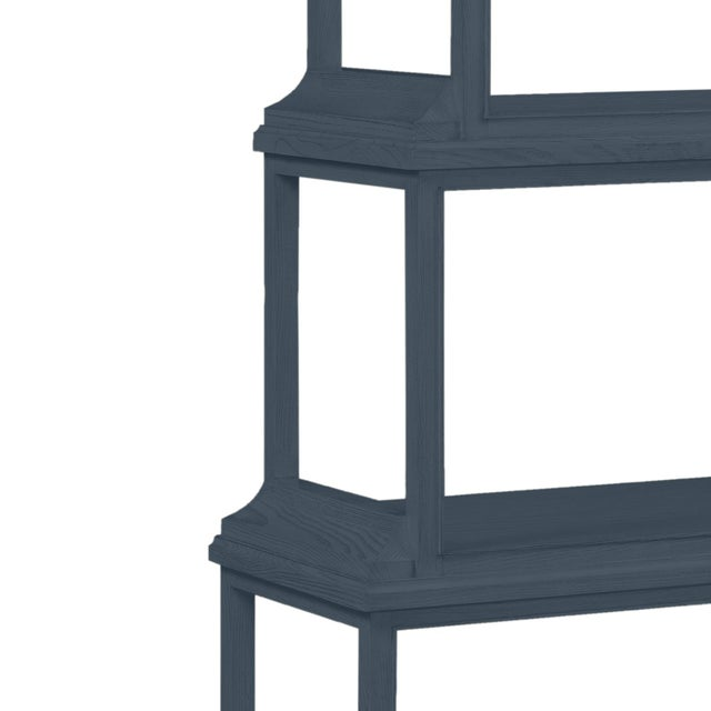 This is a made to order item with a 6-8 week leadtime. The color is Benjamin Moore Hale Navy.A stately etagere of 5...