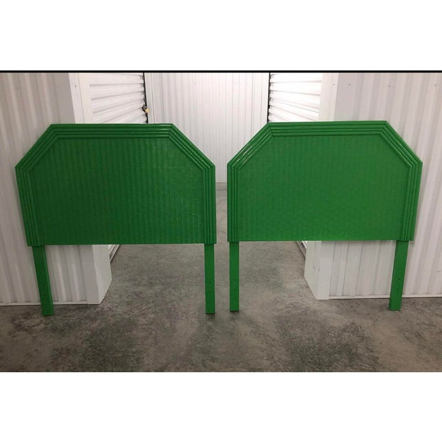 1980s Lacquered Kelly Green Faux Bamboo Twin Headboards - a Pair For Sale - Image 5 of 5