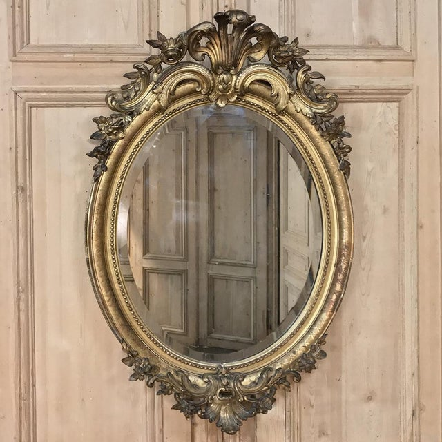 Gilded Mirror, 19th Century French Louis XVI Oval For Sale - Image 4 of 12
