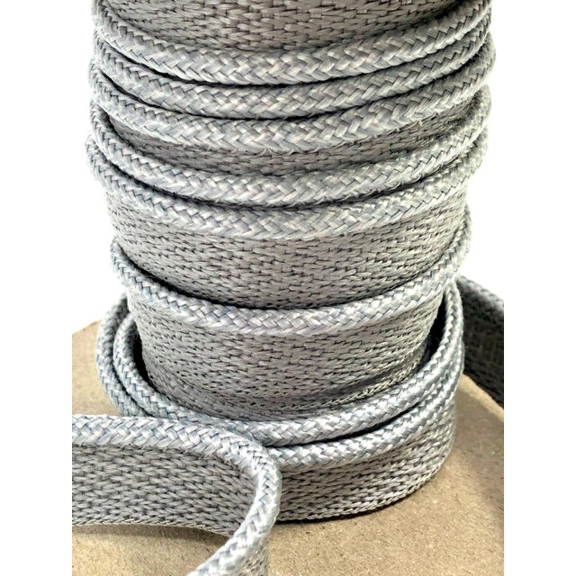 "Contemporary Braided 1/8"" Indoor-Outdoor Gray Cord Trim For Sale - Image 3 of 9"