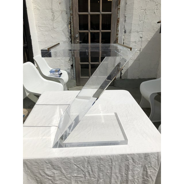 Lucite Z Drinks Table With Brass Detail For Sale - Image 13 of 13