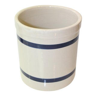 Modern White and Nautical Blue Stripe Jar For Sale