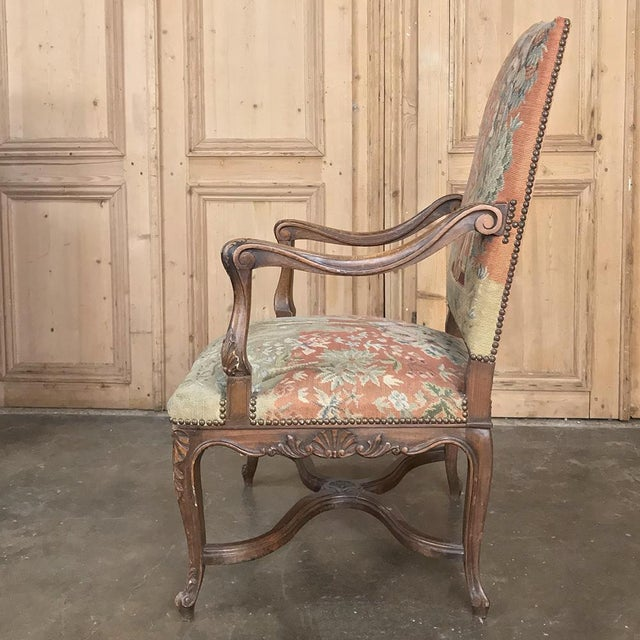 Fabric 19th Century French Louis XV Armchair With Tapestry For Sale - Image 7 of 13