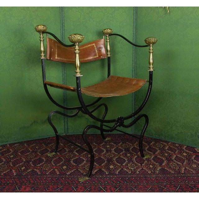 Italian 20th Century Italian Iron Campaign Chair For Sale - Image 3 of 11