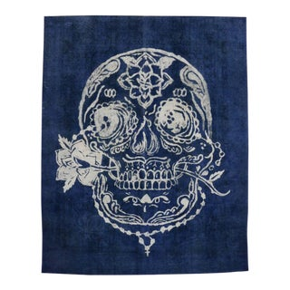 Distressed Vintage Blue Sugar Skull Rug Inspired by Alexander McQueen, 9'10 X 12'04 For Sale
