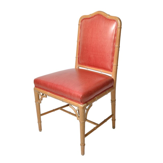 Faux Bamboo Chinese Chippendale Vinyl Chairs - Set of 8 - Image 10 of 10