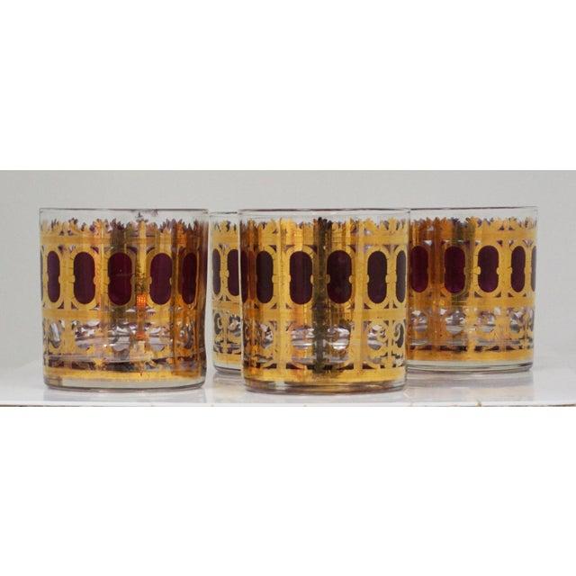 "Hollywood Regency Culver Hollywood Regency ""Cranberry Scroll"" Cocktail Glasses For Sale - Image 3 of 5"
