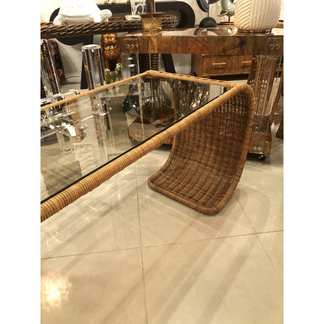 Glass Vintage Scroll Natural Wicker Console Table For Sale - Image 7 of 13