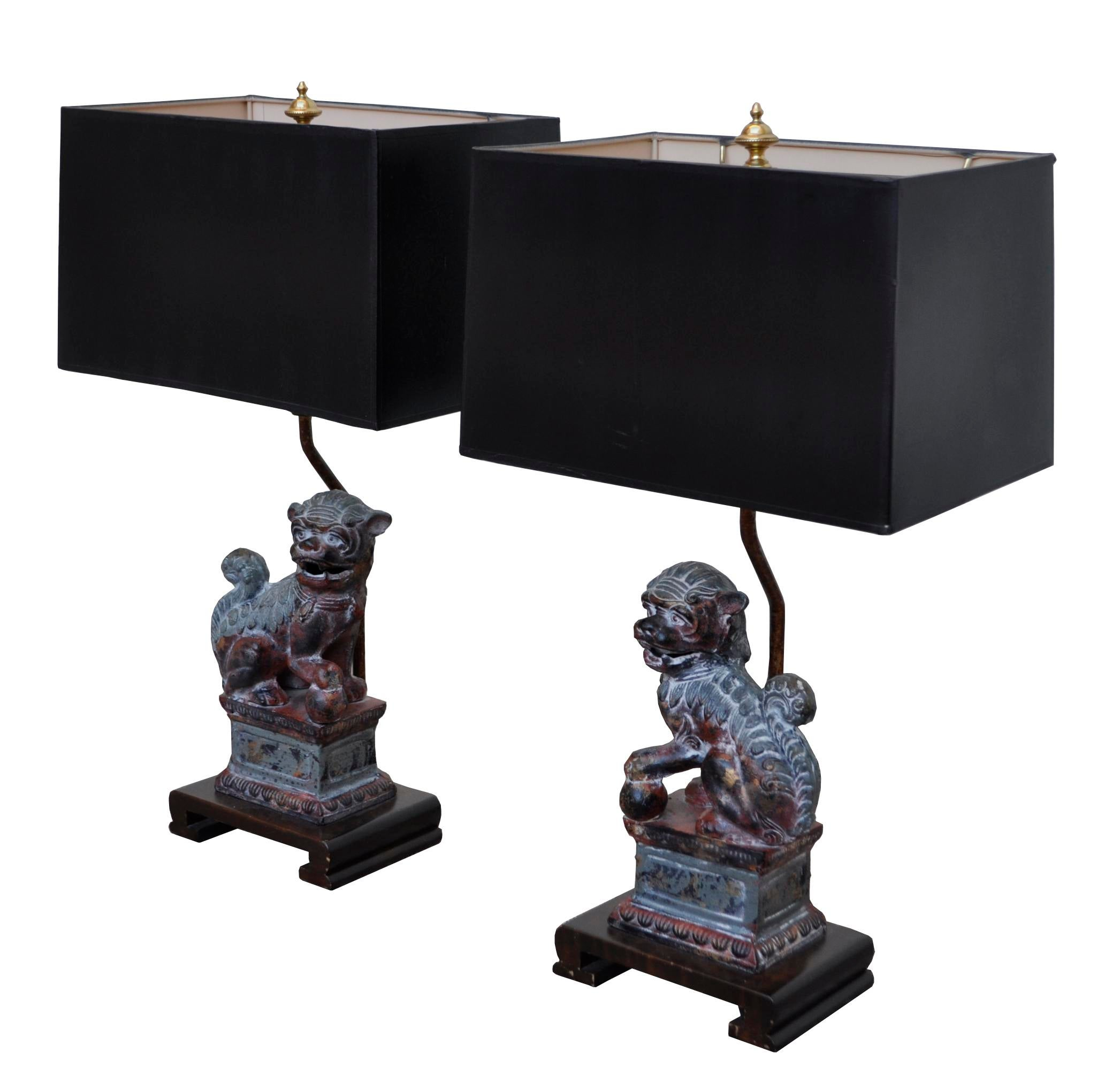Frederick Cooper Bronze Foo Dog Lamps   A Pair   Image 2 Of 7
