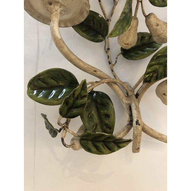 Metal Tole & Iron Painted Pear & Leafy Wall Sconces - a Pair For Sale - Image 7 of 13