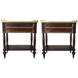 19th Pair of French Louis XVI Style Marble Top, Bronze & Walnut Nightstands