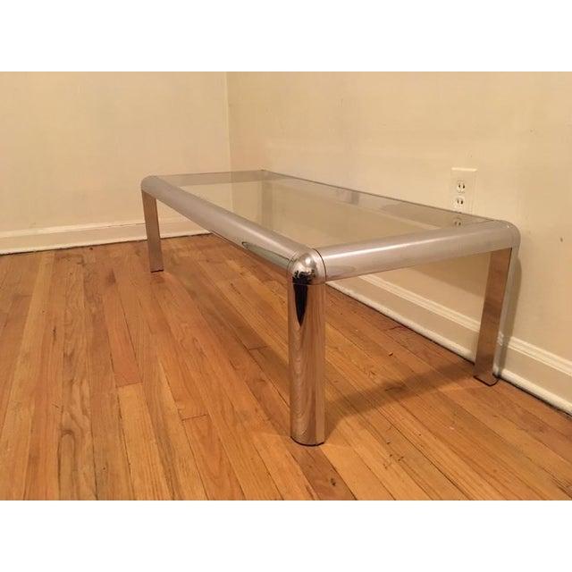 Italian Mod Chrome & Glass Coffee Table - Image 4 of 8