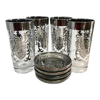 Mid-Century Kimiko Tumblers & Silver Caddy - Set of 4 For Sale