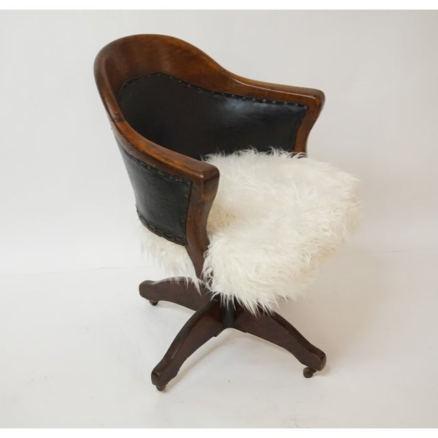 Antique Oak Bankers Swivel Chair With Mongolian Fur - Image 3 of 7