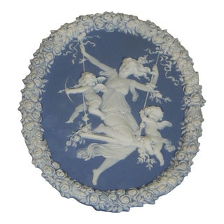 Traditional Oval Blue and White Jasperware Plaque For Sale
