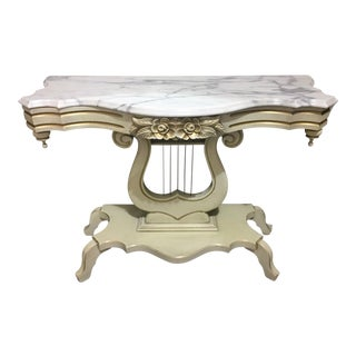 French Provincial Marble Top Lyre Based Hall Table For Sale