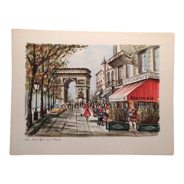 """Vintage Paris 1950's Litho """"Champs Elysees Arc de Triompe"""" by Ducollet - Image 1 of 11"""