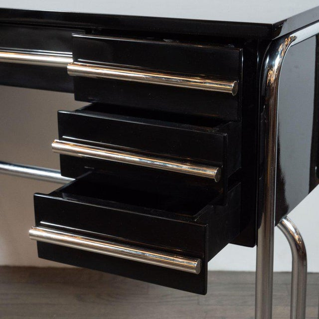 Art Deco Machine Age Chrome & Black Lacquer Writing Desk / Vanity For Sale - Image 9 of 11