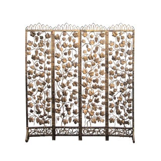 Quality Handmade Golden Color Grape Leave Motif Metal Panel Screen Divider
