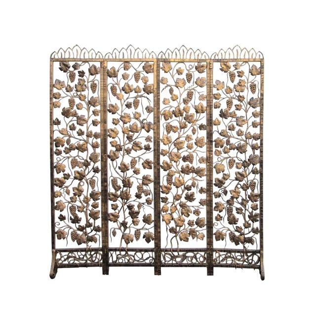 Quality Handmade Golden Color Grape Leave Motif Metal Panel Screen Divider For Sale