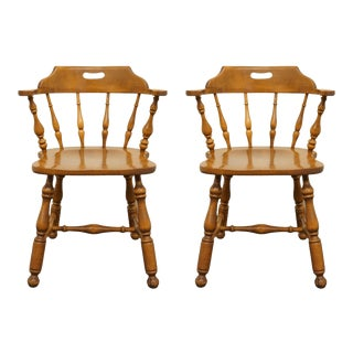 Ethan Allen Heirloom Nutmeg Maple Mate's Chairs - a Pair For Sale