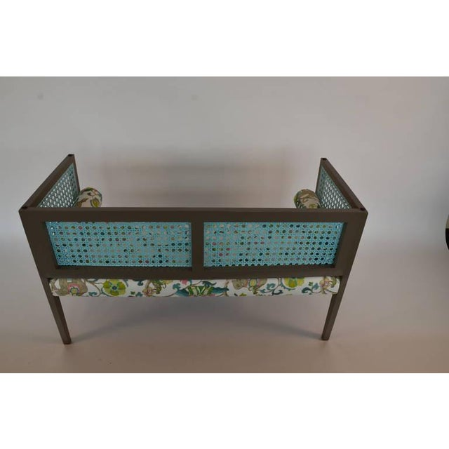 Mid-Century Modern Lacquered and Upholstered Regency Style Settee - Image 3 of 6
