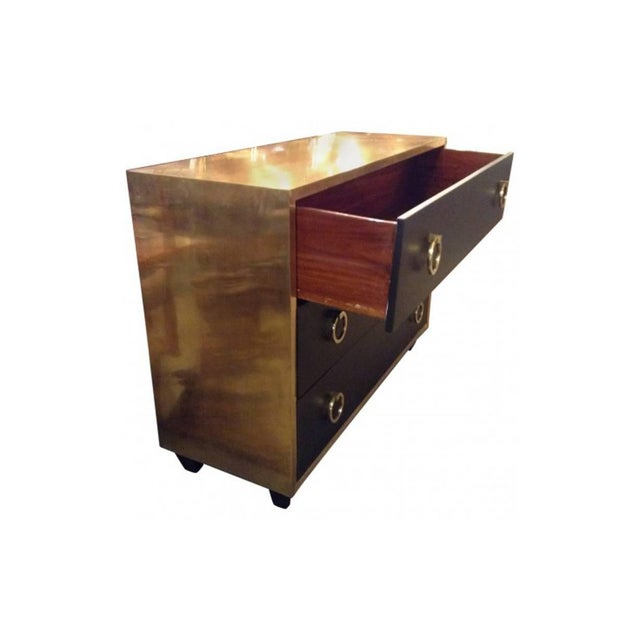 Goat Skin Brass Italian Luxury Goatskin and Brass Three-Drawer Dresser For Sale - Image 4 of 8
