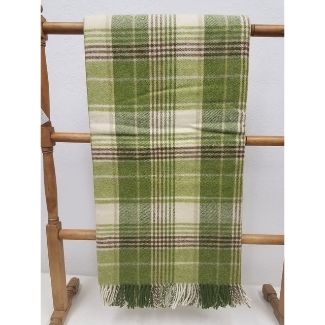 Merino Wool Throw Greens Brown and White Plaid - Made in England For Sale - Image 11 of 11
