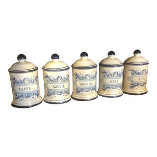 Italian Hand Painted Small Ceramic Canister - Set of 5 For Sale