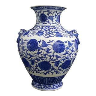 Tozai Home Chinoiserie Blue & White Vase With Taotie Embellishments For Sale