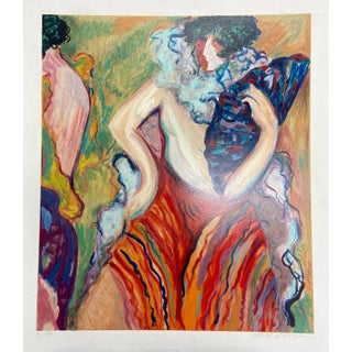 """Maja With Fan"" Original Hand-Numbered Serigraph by Barbara A. Wood Circa 1988 For Sale"