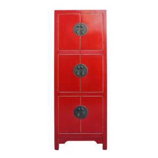 Chinese Red Lacquer Narrow Mid Size 3 Shelves Storage Cabinet