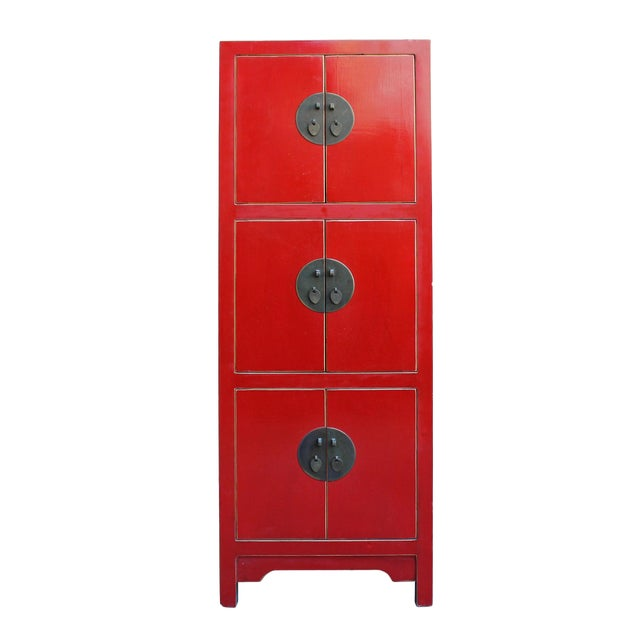 Chinese Red Lacquer Narrow Mid Size 3 Shelves Storage Cabinet - Image 1 of 5