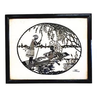 1930s Vintage Scherenschnitt Silhouette Folk Art Framed and Signed Collage For Sale
