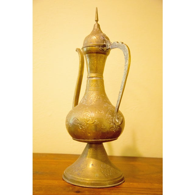 Boho Chic Vintage Moroccan Brass Tea Pot For Sale - Image 3 of 7