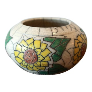 Hand Painted Sunflower Studio Pottery Ceramic Decorative Bowl For Sale